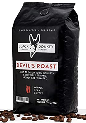 DEVIL'S ROAST ???? Extra-Strong Highly Caffeinated Bold Coffee ???? 1KG Whole Coffee Beans ???? 100% Premium Robusta by Black Donkey Coffee Roasters