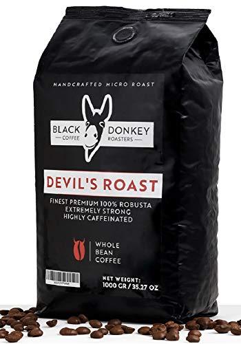 DEVIL'S ROAST 🔱 1KG Café Natural En Grano Extremadamente Fuerte 🔱 Espresso Altamente Cafeinado 🔱 100% Robusta de alta calidad de Black Donkey Coffee Roasters