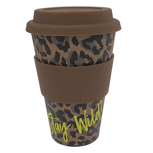 ebos Coffee-to-Go Becher aus Bambus – melaminfrei | Wiederverwendbarer Trink-Becher aus natürlichen Materialien | spülmaschinen- und mikrowellengeeignet | Wild Life