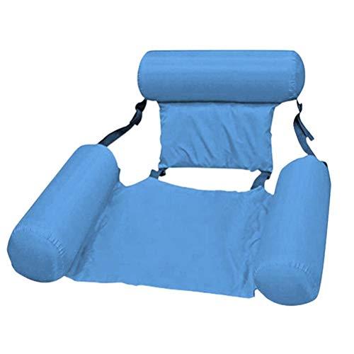 Ghzste Cama inflable, colchón de aire, hamaca de agua, tumbona para piscina, tumbona para piscina, tumbona para piscina, silla de respaldo robusta para fiestas, piscina, playa, color azul claro