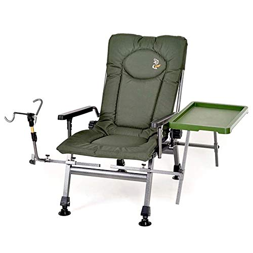 Carp Portable Fishing Chair, Folding Armchair, Adjustable Back Rest Table and rod holder Ergonomic Design 360° Rotating Feet To Adapt To Multiple Terrains Ideal for Camping Picnic Garden F5R STP