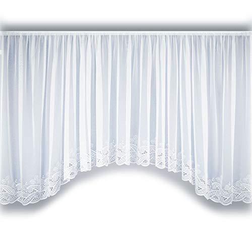 SeGaTeX home fashion Bogenstore Emilia Fertiggardine Blumenfensterstore weiß mit Stickereikante aus echter Plauener Spitze