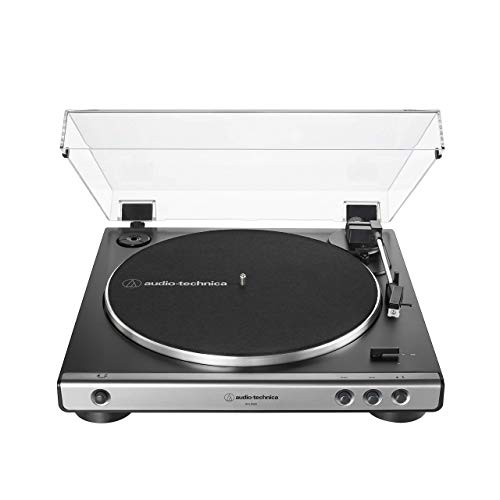 Audio-Technica at-LP60X-GM Fully Automatic Belt-Drive Stereo Turntable, Gunmetal/Black, Hi-Fidelity, Plays 33 -1/3 and 45 RPM Vinyl Records, Dust Cover, Anti-Resonance (Renewed)