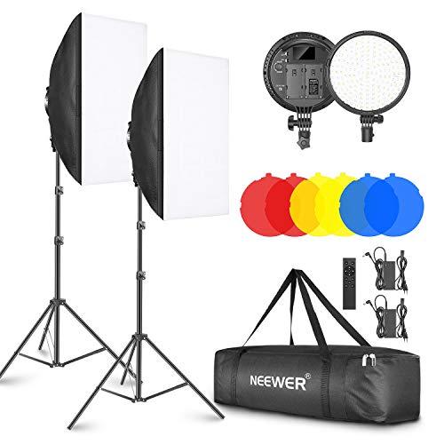 Neewer 2 Kit di Illuminazione a LED: 51,1x71cm Softbox, 3200-5600K 48W Lampadina LED Dimmerabile con 2,4G Telecomando, Cavalletto, Filtri Rosso/Giallo/Blu per Fotografia al Chiuso