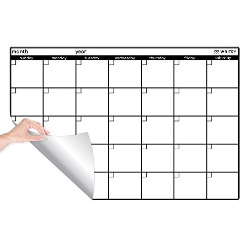Peel and Stick Whiteboard Calendar, Large Monthly Calendar, 24 x 36 in - Stain Proof White Board Wall Organizer, and Reusable Adhesive Backing