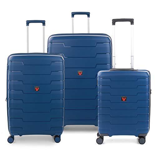 RONCATO Skyline - Juego de 3 maletas rígidas ampliables (L, medio + cabina), color azul marino