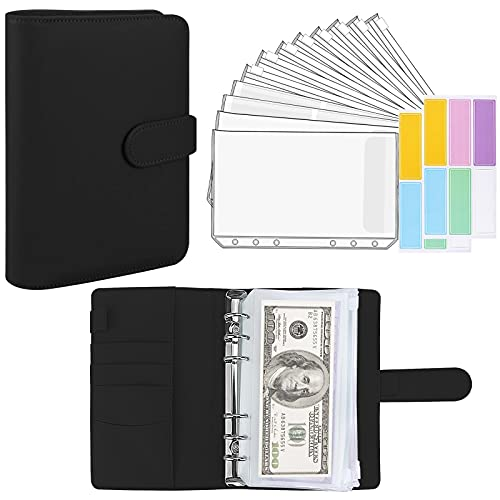 Aippdo A6 PU Leather Notebook Binder and 12 Transparent Envelopes System Budget Planning Program Organizer Binder Budget Money Envelope Cash Envelope 12 Labels