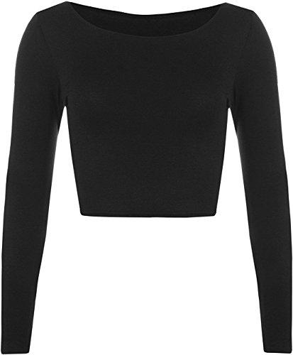 Womens Crop Long Sleeve T Shirt Ladies Short Plain Round Neck Top ((S/M) 8-10, Black)