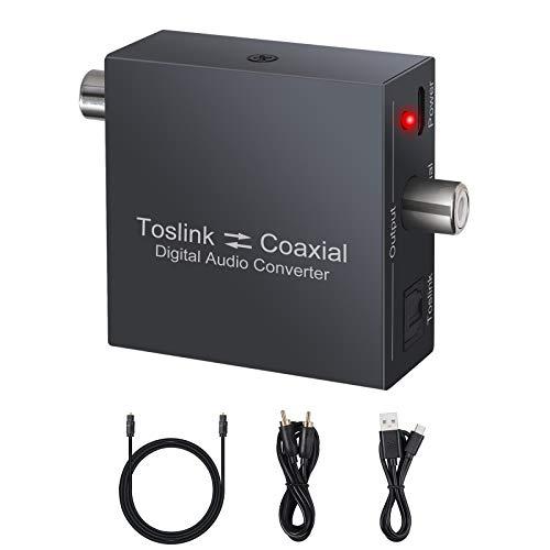 Convertidor Coaxial a Óptico Bidireccional 96kHz Adaptador de Audio Óptico SPDIF Toslink a Coaxial Soporta LPCM DTS Dolby-AC3 5.1CH para TV DVD PS4 BLU-Ray Amplificador