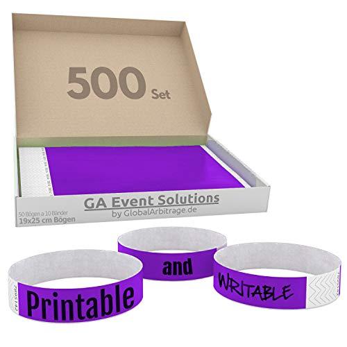 500 Eintrittsbänder aus Tyvek zum selbst gestalten und bedrucken in Lila von GA Event Solutions - Party Einlassbänder, Festival Armbänder für dein Event