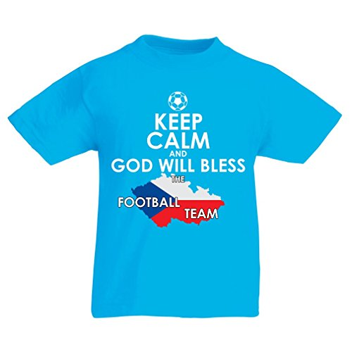N4495K La Camiseta de los niños God Will Bless Czech National Team (7-8 Years Azul Claro Multicolor)