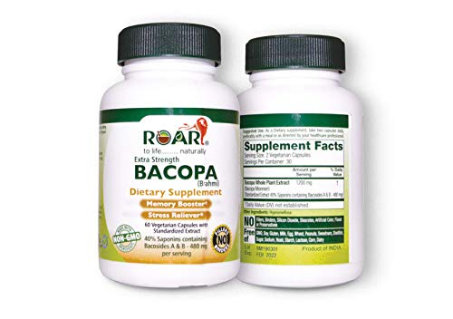 Bacopa (Certified Brahmi) 1200 mg per Serving Vegetarian Capsules with Bacosides A&B-480mg for Memory Booster and Stress Reliever