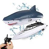 LQKYWNA Barco De Control Remoto Barco De Alta Velocidad RC De 2,4 GHz con Cubierta De Tiburón Simulada Desmontable Diseño Impermeable Potentes Juguetes Acuáticos para Niños Y Adultos