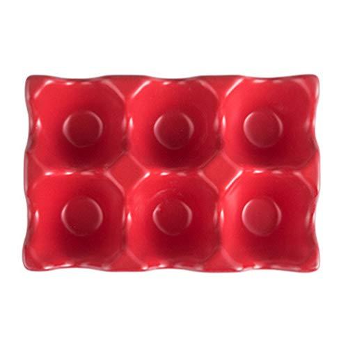 Hemoton Hühnerei-Tablett, Keramik-Eierhalter, Lebensmittel-Aufbewahrungsbehälter mit Eier-Halterung, Versandkarton, Geflügelei-Halter, rutschfest, 6 Gitter (schwarz) 14.5x9.5x3.2cm rot