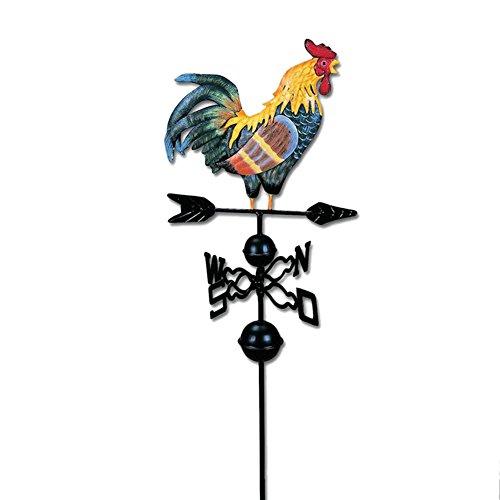 Wupettier Hahn Wetterfahne, Metall Traditionelle kolorierte Zeichnung Spaß, Hahn Weathervane für Garten-Dekoration
