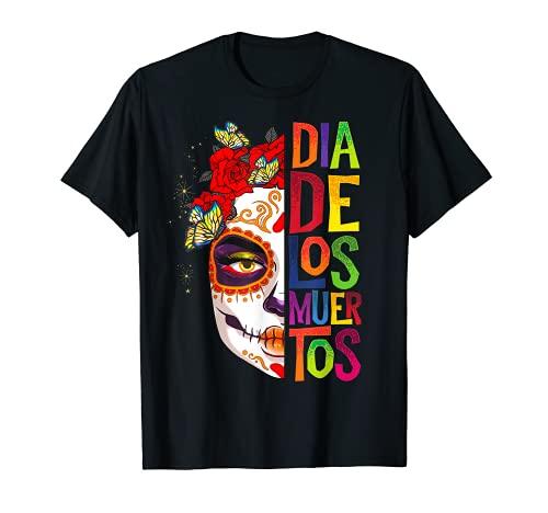 Dia De Los Muertos Esqueleto Crneo Mujeres Mexicanas Corona Chica Camiseta