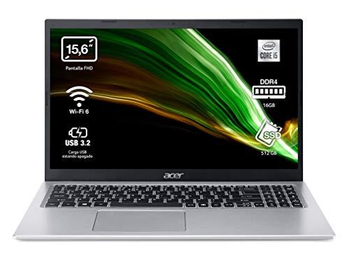 "Acer Aspire 5 - Portátil 15.6"" FullHD (Intel Core i5-1135G7, 16GB RAM, 512GB SSD, UMA Graphics, Sin Sistema Operativo), Color Plata - Teclado QWERTY Español"