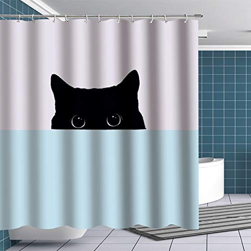 BTTY Cute Cat Shower Curtain Lovely Peeping Black Cat Bathroom Decoration Funny Bathroom Curtain Sets Premium Bright Contracted Shower Curtain for Bathroom With Hooks Bathroom Accessory 70x70 Inches