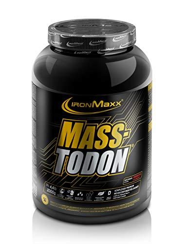 IronMaxx Masstodon - Power Weight Gainer aus hochwertigen Kohlenhydraten / Zuckerarm - Erdbeere - 1 x 2000g Dose