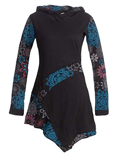 Vishes - Alternative Bekleidung - Asymmetrisches Langarm Damen Baumwoll Blumen-Kleid Hoodie mit Kapuze schwarz 44