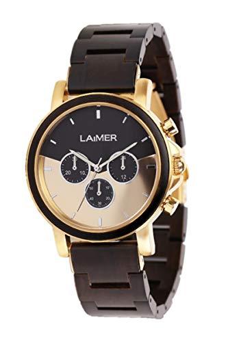 LAiMER Holzuhr - Armbanduhr IAN aus Massivholz - analoger Herren Quarz-Chronograph mit Leuchtzeiger & 24h-Anzeige - Ø 43mm - Zero Waste Verpackung aus Naturholz
