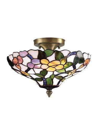 Dale Tiffany 7966/3LTF Peony Semi-Flush Mount Light, Antique Brass and Art Glass Shade