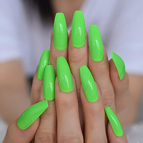 NEON Nails Wonderful Summer Green False Nails Bright Color Beautiful Extra Long Coffin Press on Nail with Adhesive Glue Sticker