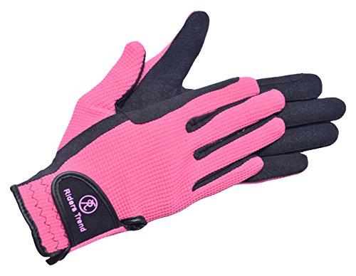 Riders Trend Unisex Reithandschuhe aus Amara/Baumwolle, Unisex, schwarz/rosa, S