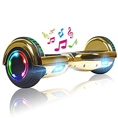 """UNI-SUN 6.5"""" Hoverboard for Kids, Two Wheel Electric Scooter, Self Balancing Hoverboard with Bluetooth and LED Lights for Adults, UL 2272 Certified Hover Board?Ultimate Chrome Gold"""