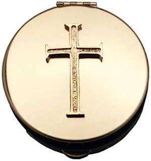 """Pyx med kors (PS203) – 2 7/8 diameter, 1/2 djup, polerad mässing av """"Cathedral Art Metal Co., Inc."""""""