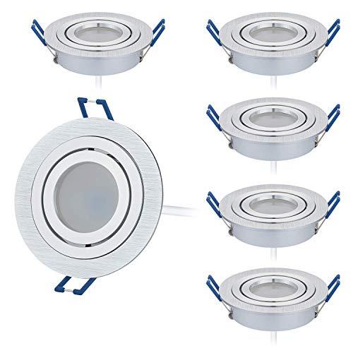 HCFEI 6er Set LED Einbaustrahler dimmbar flach(30mm Tiefe) rund, Alu gebürstet, Schwenkbar mit 5W LED Modul Neutralweiß 4000K für 230V ohne Trafo, glanzpolierter Innenring