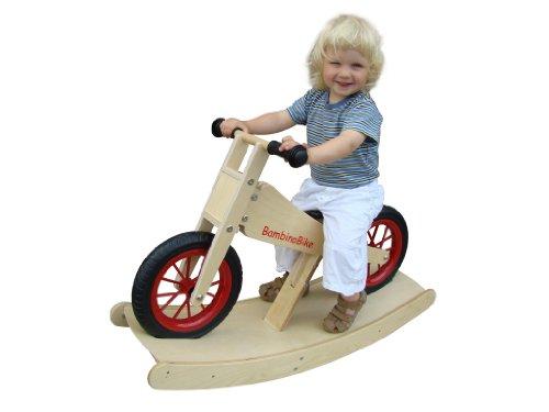 Bambino Bike Kinderlaufrad Holz natur mit Wippe Holzrad, P2099