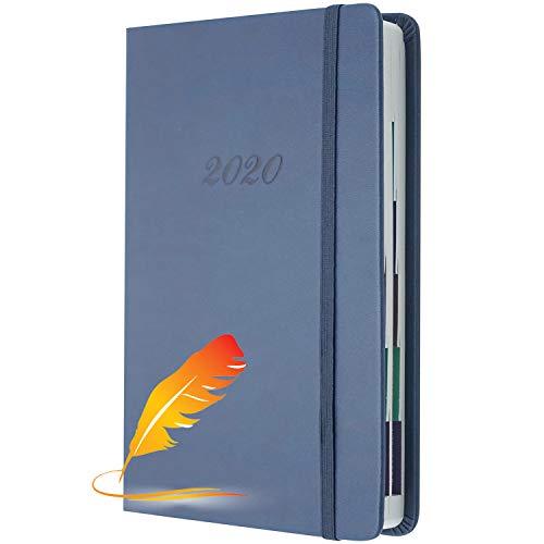 HELLOCAM Agenda Gionaliera 12 Mesi 2020 Il Copertina Rigida e Chiusura ad Elastico, Dimensione Large 14 x 21 cm, 400 Pagine,Colore Blu ,Taglia L