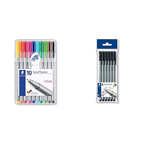 STAEDTLER 334 SB10 - Bolígrafo punta fina, 10 unidades, Multicolor + 334 9 PB6. Rotuladores Triplus Fineliner. Pack de 6 marcadores de color negro