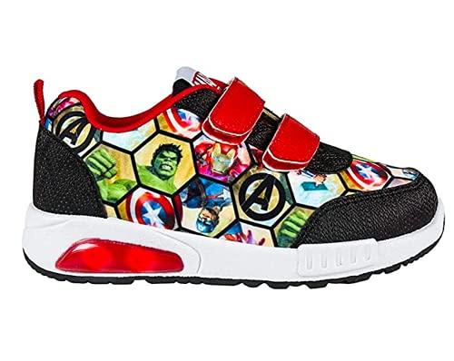 Avengers Zapatillas Deportivas para Niños, Zapatos con Luces, Deportivas Ligeras, Cierre de Velcro Fácil, Regalo para Niños, Talla EU 33