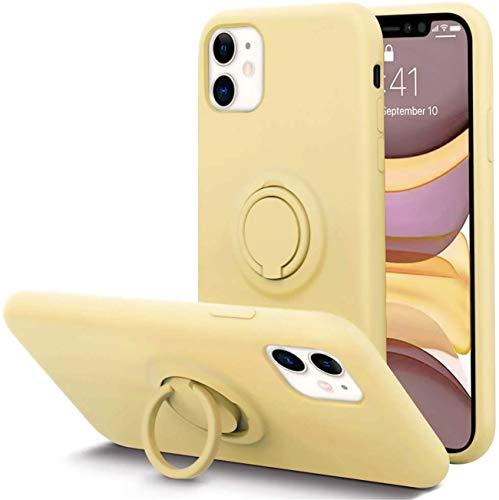 Jancyu Funda iPhone 12 Pro Max, de silicona líquida con soporte de anillo de protección completa antigolpes y antigolpes para Apple iPhone 12 Pro Max 2020. amarillo Medium
