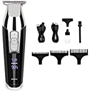 RENPHO Cordless Hair Clippers Beard Trimmer Hair Trimmer Rechargeable Hair Cutting Kit for Men Stainless LED Display Steel Blades 1400mAh Lithium Ion