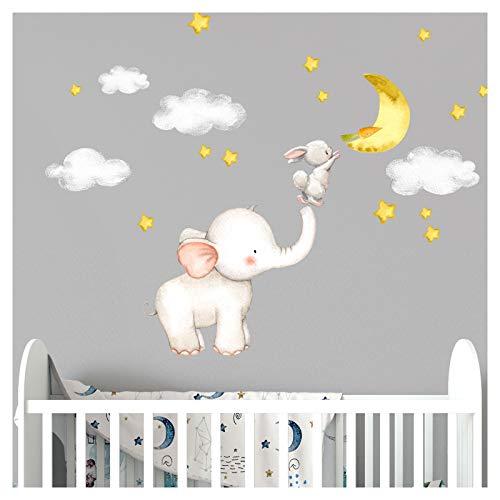 Little Deco Wandtattoo Babyzimmer Elefant und Hase mit Mond und Sternen I 163 x 95 cm (BxH) I Kinderbilder Deko Kinderzimmer Mädchen Aufkleber Junge Sticker DL463