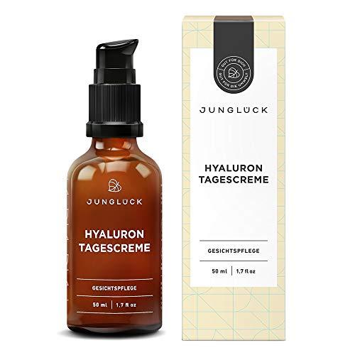 Junglück Hyaluron Creme I 50 ml Anti-Aging Feuchtigkeitscreme für Gesicht & Haut I Pflegende Tagescreme mit Hyaluron, Arganöl & Aloe Vera I Natürliche Kosmetik Made in Germany