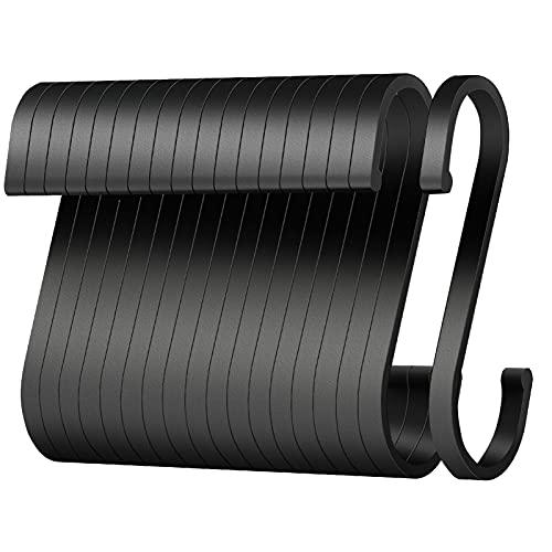 S Haken, 20 Pack S-förmige Haken, 8.5cm Groß haken schwarz für Badezimmer, Schlafzimmer, Büro, Küche, Geschäft,Garten