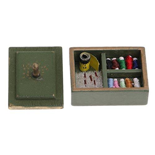 1/12 Caja de Madera Almacenaje de Aguja Hilos de Coser en Miniatura de Casa de Muñecas - Verde