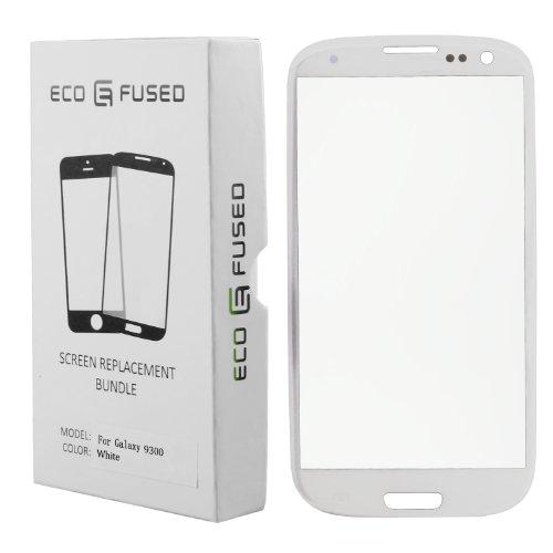 Samsung Galaxy S3 Display Ersatz-Set bestehend aus 1x Austausch Display-Glas für Samsung Galaxy S3 9300 / 1x Pinzette / 1x Rolle Klebeband 2 mm / 1x Werkzeugsatz / 1x Eco-Fused® Mikrofaser Reinigungstuch (weiß)