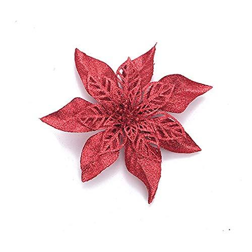 Glitter Poinsettia Christmas Flower Decor Wreath Tree Decorations Christmas Evening Gift Wedding Flowers Scrapbook Garlands Rattan (Colour: A2)