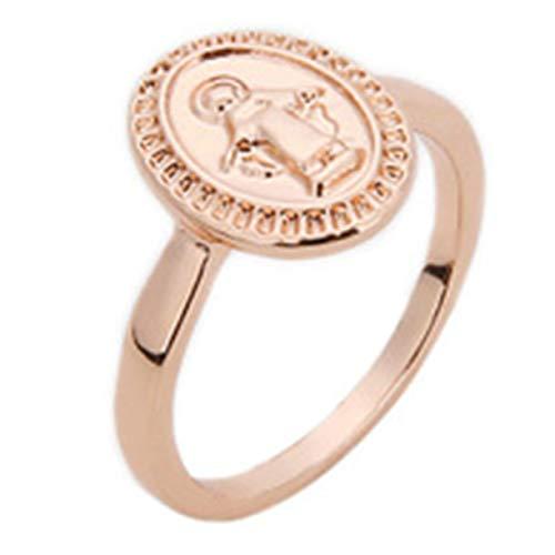 LHYhengl Anillo Circular de la Virgen María(None 7 Rose Gold 7)