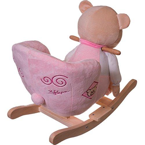 Stimo24 Schaukeltier / Baby Kind Schaukel (mit Sicherheitsgurt und Kippschutz) (BÄR ROSA) - 2