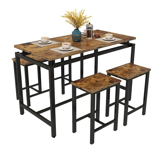 MIERES 5 Pcs Dining Table Set Kitchen Counter with Height 4 Bar Stools, Wood Elegant Pub Breakfast Chairs for Living, Party Room Occasions,34.7' H, 47' L x 24' W x 35' H, Rustic Brown