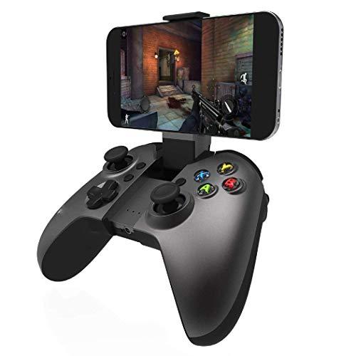 QCHEA Gamepad Controller, Controlador inalámbrico, Bluetooth Gamepad Controller Joystick con Soporte de Soporte Ajustable for Android/iOS Smartphone, súper Sensible
