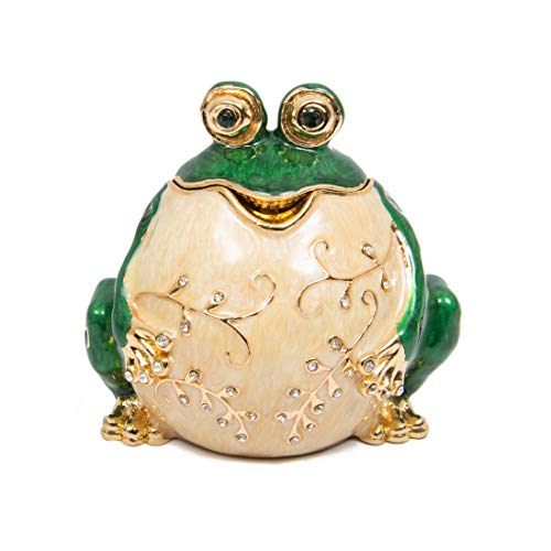 QIFU Decorative Hand Painted Frog Style Hinged Jewelry Trinket Box, Unique Gift Home Decor