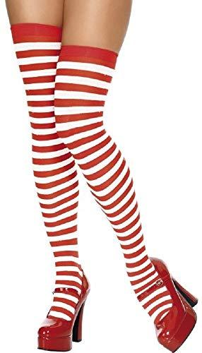 Fancy Me Damen Sexy Blau Weiß Rot Anker nautisch Matrose gestreift Maskenkostüm Strümpfe Socken - rot/weiß gestreift, Einheitsgröße, One Size