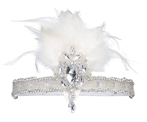 BABEYOND 1920s Flapper Headpiece 20s Carnival Feather Headband Crystal Beaded Great Gatsby Hairband 1920s Flapper Gatsby Hair Accessories (White)